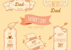 Free vector Pack of vintage decorative father's day ribbons #9582