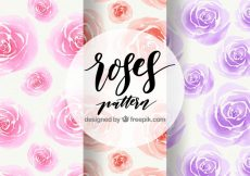Free vector Pack of watercolor roses patterns #5617