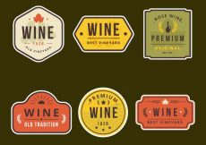 Free vector Pack of wine retro stickers #9720