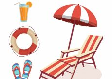 Free vector Pack with deck chair and other summer items #8554