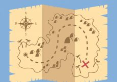 Free vector Parchment with treasure map in flat design #8646