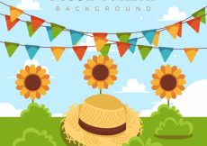 Free vector Party background with hat and sunflowers #6197