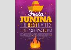 Free vector Party brochure with bonfire and hat #7709