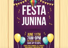 Free vector Party flyer junina with balloons #4492