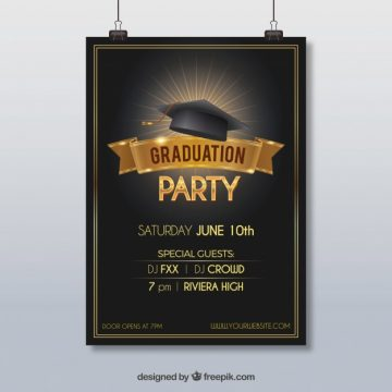 Free vector Party poster with graduation cap #12381