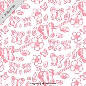 Free vector Pattern of butterflies and hand painted natural elements #11417