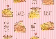 Free vector Pieces of cake pattern background #4041