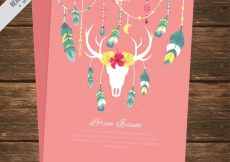 Free vector Pink greeting card with ethnic decoration #4892