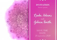 Free vector Pink wedding invitation template #9319