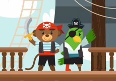 Free vector Pirate bear and parrot background in flat design #10333