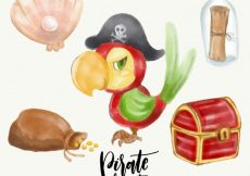 Free vector Pirate parrot and other watercolor elements #8620