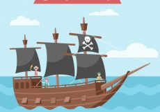 Free vector Pirate sailing boat background #9768