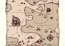 Free vector Pirate treasure map in hand-drawn style #6402