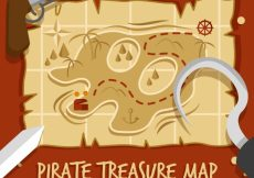 Free vector Pirate treasure map with decorative items #6850