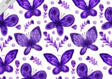 Free vector Pretty pattern of flowers and watercolor butterflies in purple color #11419