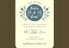 Free vector Pretty wedding invitation with blue flowers #9490