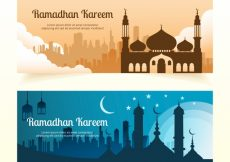 Free vector Ramadan kareem banners with mosque #8254