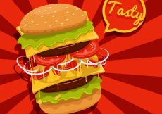 Free vector Red background with tasty burger  #6616
