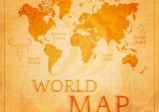Free vector Retro world map in orange tones #6531