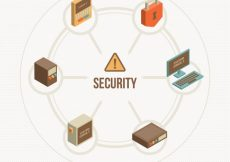 Free vector Round background with isometric security elements #12039