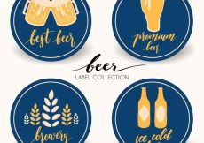 Free vector Rounded beer stickers #5018