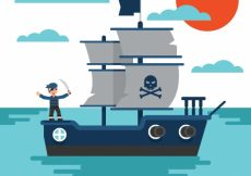 Free vector Sea background with pirate ship #6840
