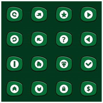 Free vector Set of 16 white icons on rounded green rectangles #9253