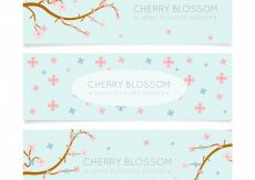 Free vector Set of beautiful banners with pink and blue flowers #11395