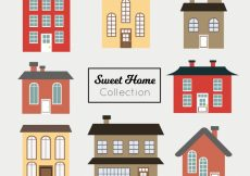 Free vector Set of beautiful facades of houses in flat design #10758