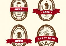 Free vector Set of beer stickers in retro style with ribbon #5021