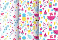Free vector Set of colorful patterns of flowers and fruits #10387