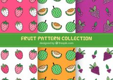 Free vector Set of decorative hand drawn fruit patterns #8592