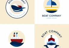 Free vector Set of four round logos with flat boats #5209