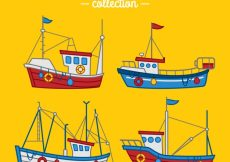 Free vector Set of hand-drawn fishing boats #4334