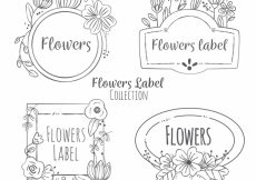 Free vector Set of hand-drawn floral stickers #6966