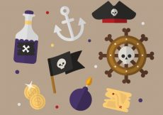 Free vector Set of pirate elements in flat design #8642