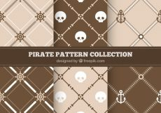 Free vector Set of pirate patterns in brown tones #9586
