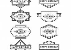 Free vector Set of retro birthday badges #11323