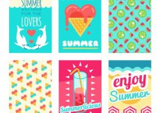 Free vector Set of six colored summer cards in flat design #8494