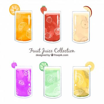 Free vector Set of six fruit juices in watercolor style #7122