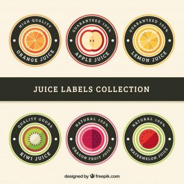 Free vector Set of six round labels with different fruits #4446
