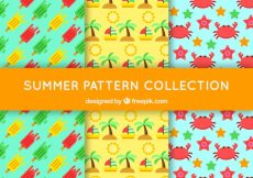 Free vector Set of three colored patterns with flat summer elements #8117