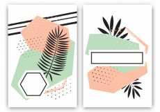 Free vector Set of tropical cards in memphis style #5661