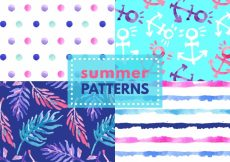 Free vector Set of watercolor summer patterns #8280