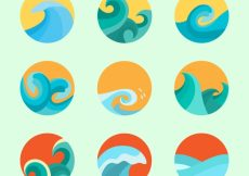 Free vector Set of waves in flat design #3689