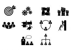 Free vector Set Of Working Together Icons #5544