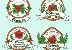 Free vector Several floral stickers in hand-drawn style #5769