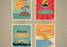 Free vector Several summer carda in retro style #4683
