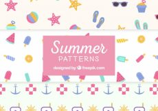Free vector Several summer patterns in pastel colors #7076