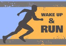 Free vector  silhouette background of runner with message #5325